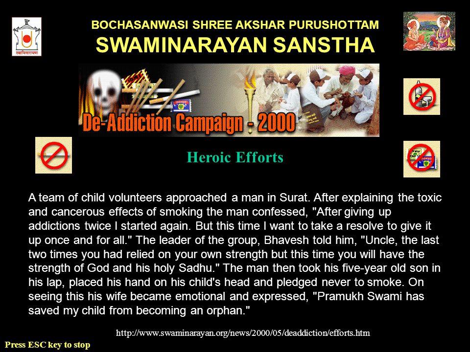 BOCHASANWASI SHREE AKSHAR PURUSHOTTAM SWAMINARAYAN SANSTHA Press ESC key to stop A team of child volunteers approached a man in Surat.