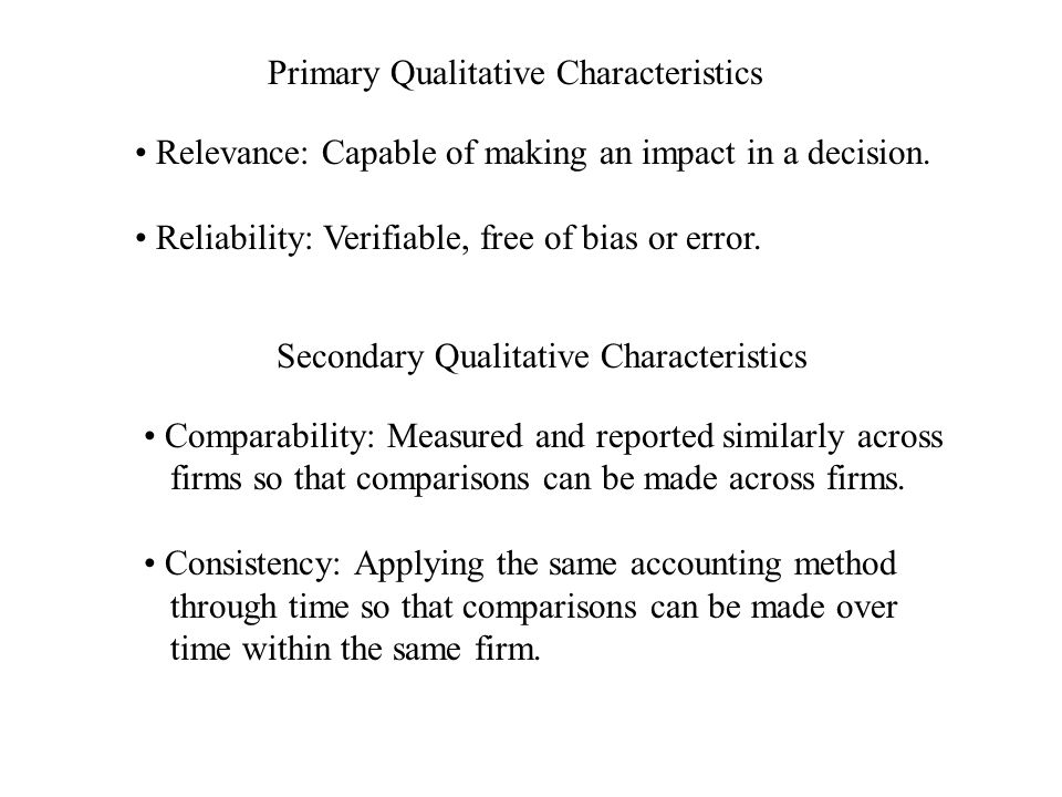 Primary Qualitative Characteristics Relevance: Capable of making an impact in a decision.