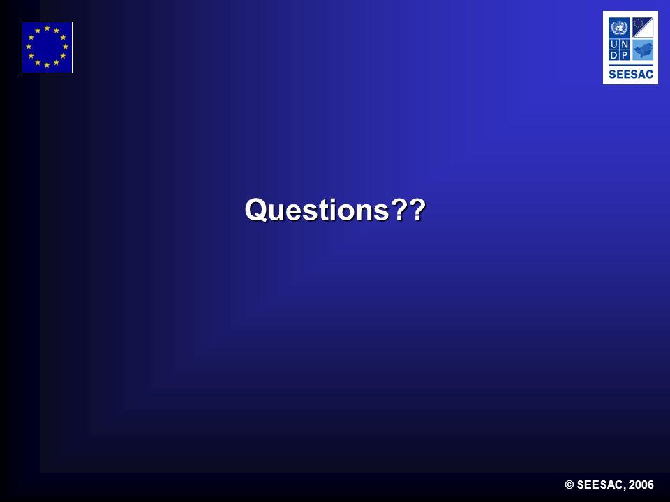 © SEESAC, 2006 Questions