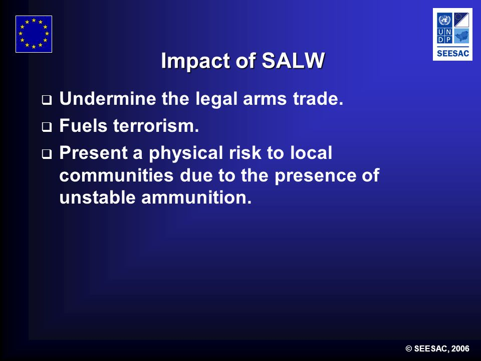 © SEESAC, 2006 SALW Control interventions MUST:  DETER  DETER individuals, groups and organisations from illegally possessing or transferring SALW.