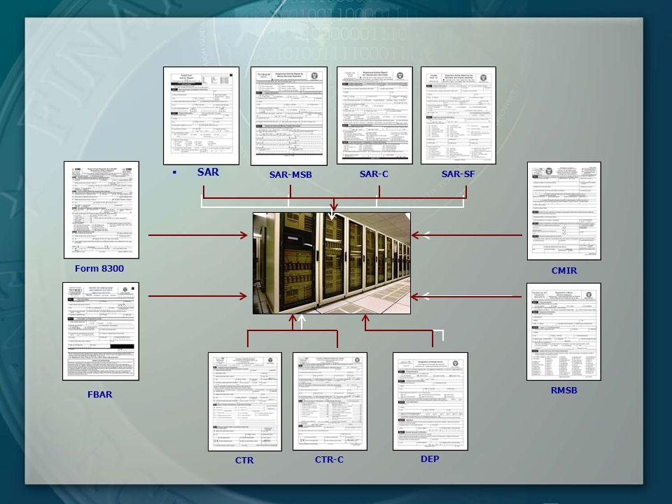  SAR SAR-C SAR-SF CTR CTR-C DEP Form 8300 SAR-MSB CMIR RMSB FBAR