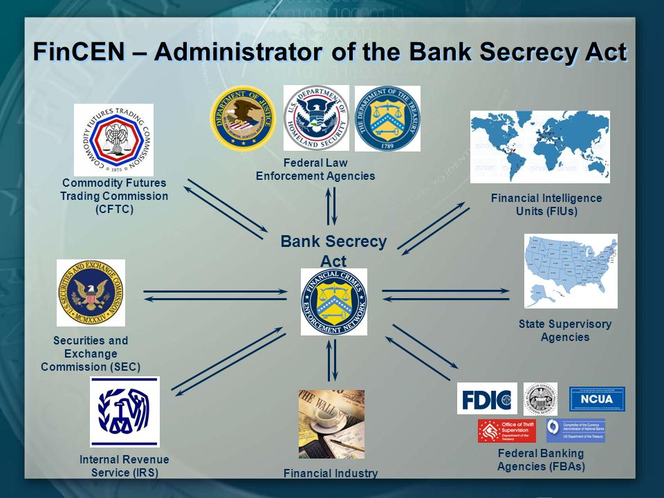 FinCEN – Administrator of the Bank Secrecy Act Commodity Futures Trading Commission (CFTC) Federal Law Enforcement Agencies Financial Intelligence Units (FIUs) Bank Secrecy Act Securities and Exchange Commission (SEC) Internal Revenue Service (IRS) Financial Industry Federal Banking Agencies (FBAs) State Supervisory Agencies