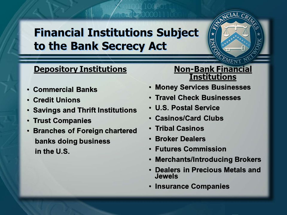 Depository InstitutionsNon-Bank Financial Institutions Money Services Businesses Travel Check Businesses U.S.