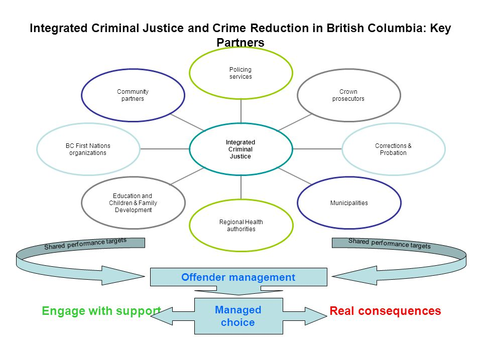 Engage with supportReal consequences Integrated Criminal Justice and Crime Reduction in British Columbia: Key Partners Managed choice Offender management Shared performance targets