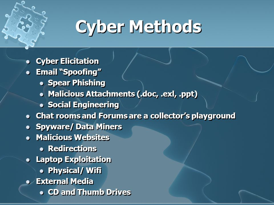 Cyber Methods Cyber Elicitation Email Spoofing Spear Phishing Malicious Attachments (.doc,.exl,.ppt) Social Engineering Chat rooms and Forums are a collector's playground Spyware/ Data Miners Malicious Websites Redirections Laptop Exploitation Physical/ Wifi External Media CD and Thumb Drives Cyber Elicitation Email Spoofing Spear Phishing Malicious Attachments (.doc,.exl,.ppt) Social Engineering Chat rooms and Forums are a collector's playground Spyware/ Data Miners Malicious Websites Redirections Laptop Exploitation Physical/ Wifi External Media CD and Thumb Drives
