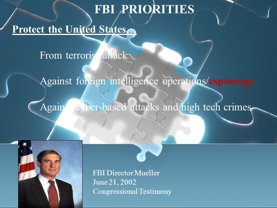 Protect the United States… From terrorist attack Against foreign intelligence operations/espionage Against cyber-based attacks and high tech crimes FBI Director Mueller June 21, 2002 Congressional Testimony FBI PRIORITIES