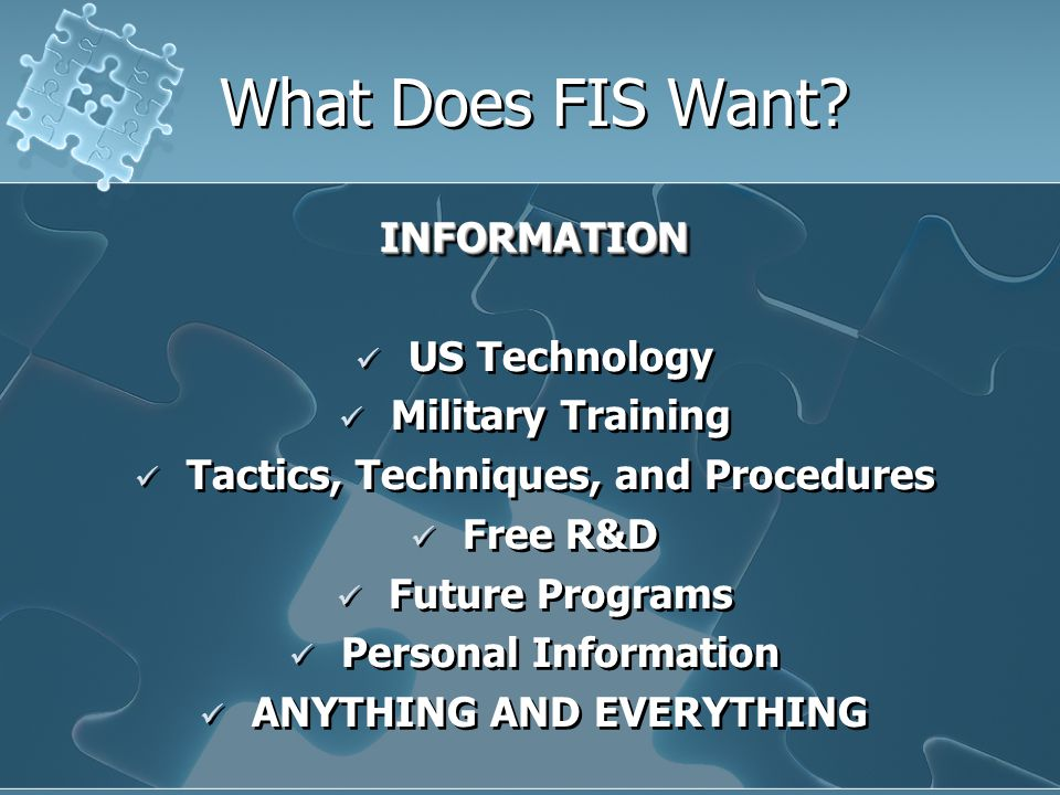 What Does FIS Want.