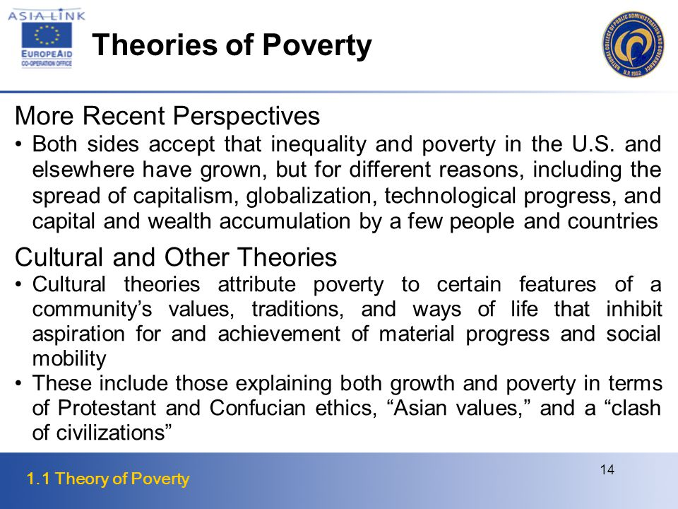 1.1 Theory of Poverty 14 More Recent Perspectives Both sides accept that inequality and poverty in the U.S.