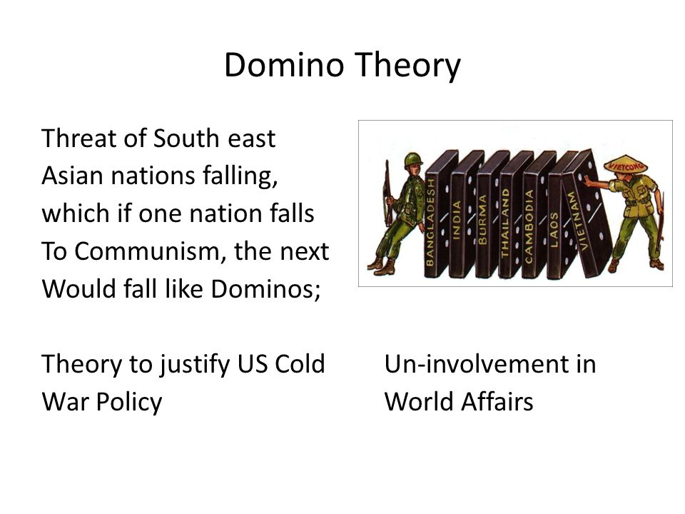 Domino Theory Threat of South east Asian nations falling, which if one nation falls To Communism, the next Would fall like Dominos; Theory to justify US ColdUn-involvement in War PolicyWorld Affairs