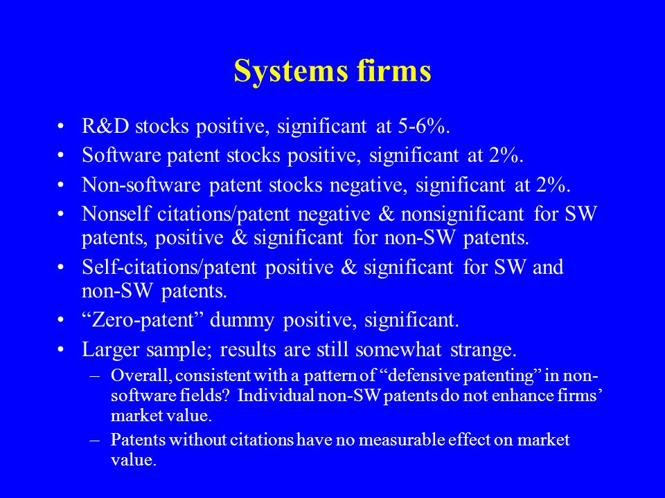 Systems firms R&D stocks positive, significant at 5-6%.
