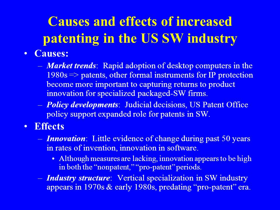Conclusions (2) Citation-based indicators do not reveal declines in the quality of large packaged-SW firms' patents during 1990s.