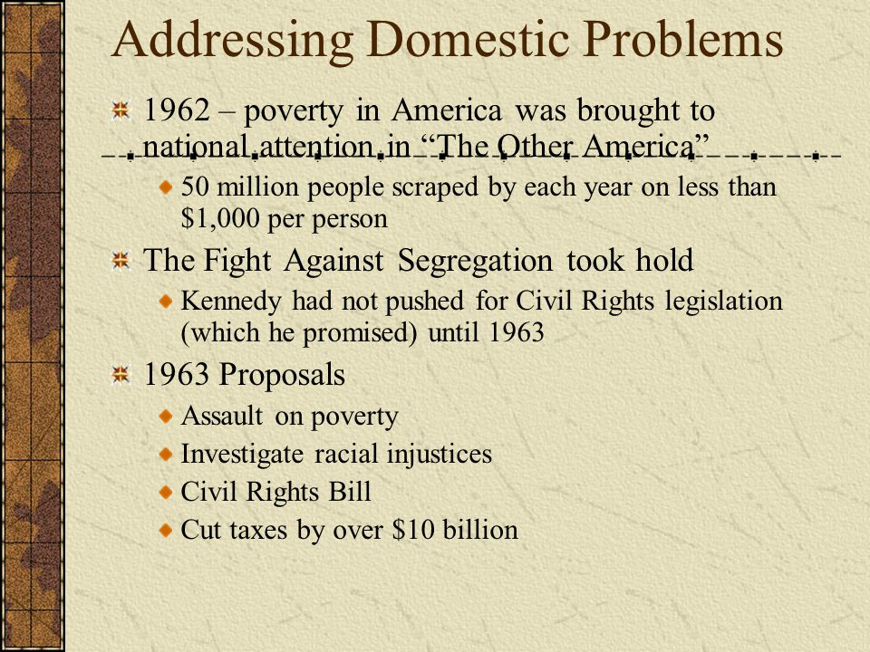 Addressing Domestic Problems 1962 – poverty in America was brought to national attention in The Other America 50 million people scraped by each year on less than $1,000 per person The Fight Against Segregation took hold Kennedy had not pushed for Civil Rights legislation (which he promised) until 1963 1963 Proposals Assault on poverty Investigate racial injustices Civil Rights Bill Cut taxes by over $10 billion