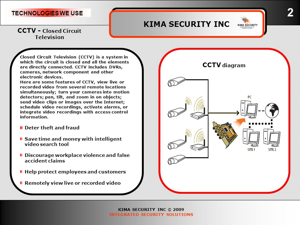 KIMA SECURITY INC © 2009 INTEGRATED SECURITY SOLUTIONS TECHNOLOGIES WE USE KIMA SECURITY INC 3 Access Control is a cost-effective facility management resource that protective security system that safeguards Access Control is a cost-effective facility management resource that regulates who goes where & when.