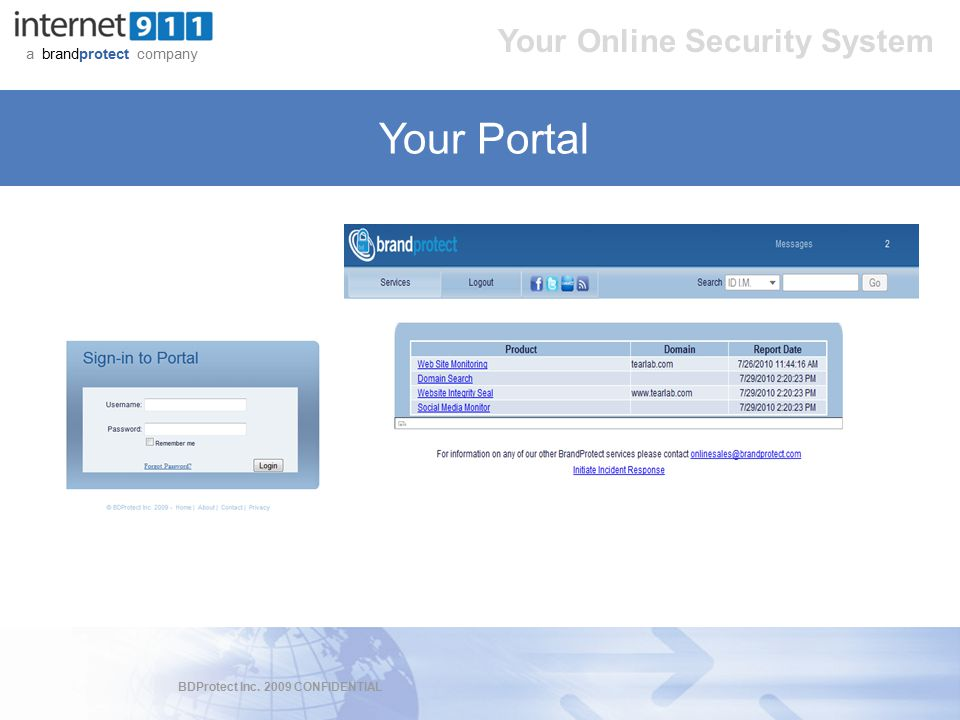BDProtect Inc. 2009 CONFIDENTIAL a brandprotect company Your Online Security System Your Portal