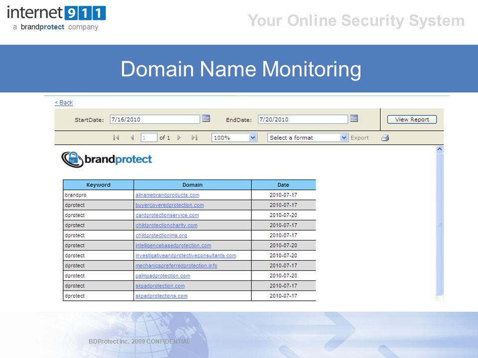 BDProtect Inc. 2009 CONFIDENTIAL a brandprotect company Your Online Security System Domain Name Monitoring
