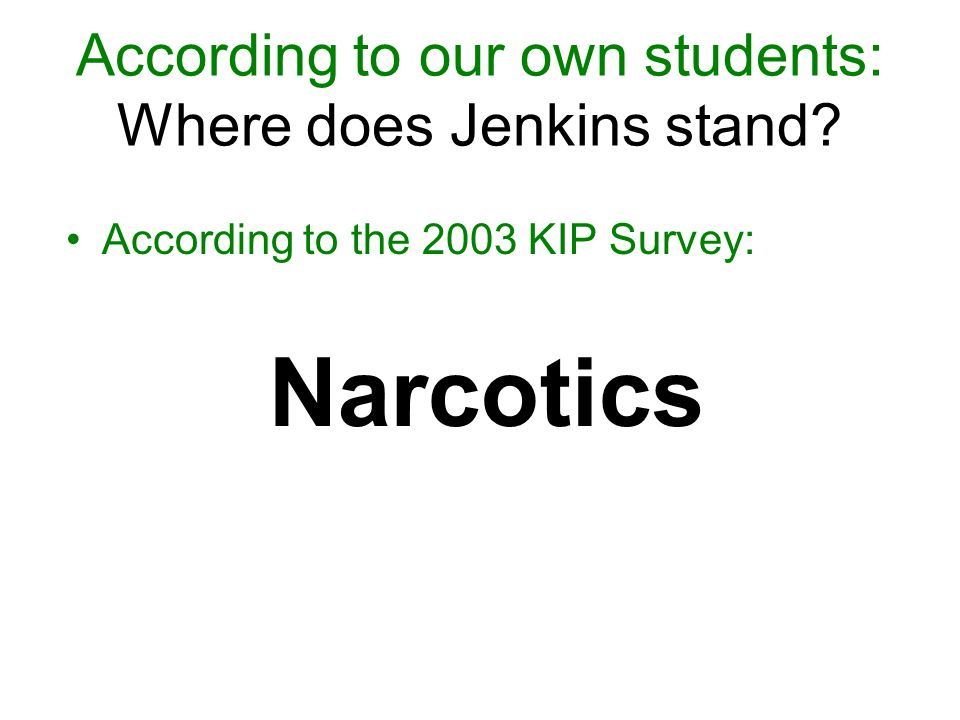According to the 2003 KIP Survey: Narcotics According to our own students: Where does Jenkins stand?