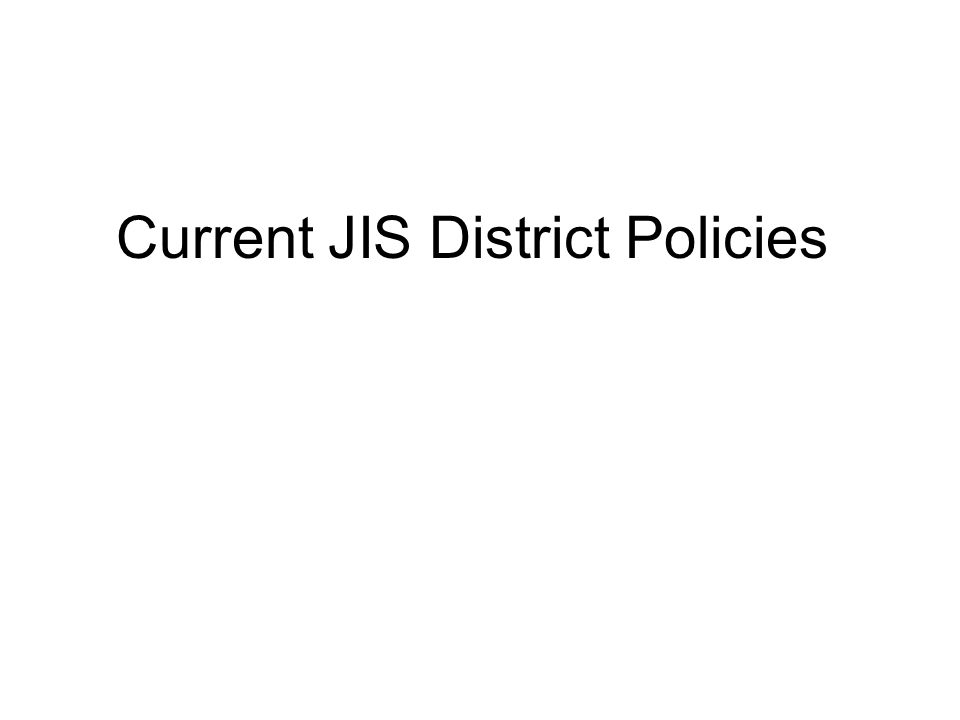 Current JIS District Policies
