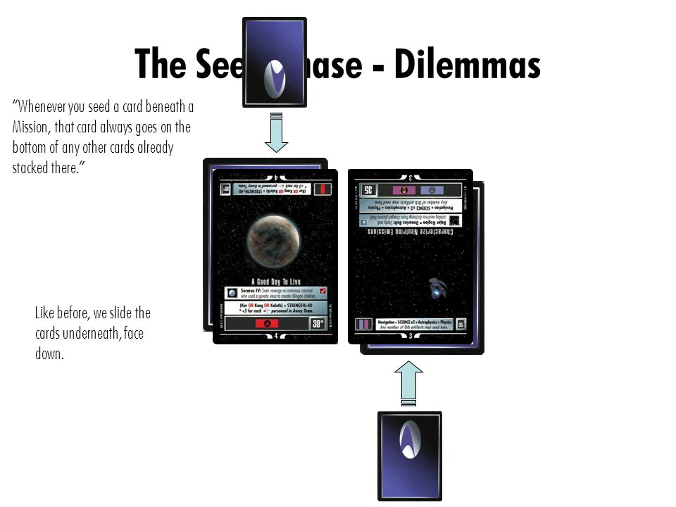 The Seed Phase - Dilemmas Whenever you seed a card beneath a Mission, that card always goes on the bottom of any other cards already stacked there. Like before, we slide the cards underneath, face down.