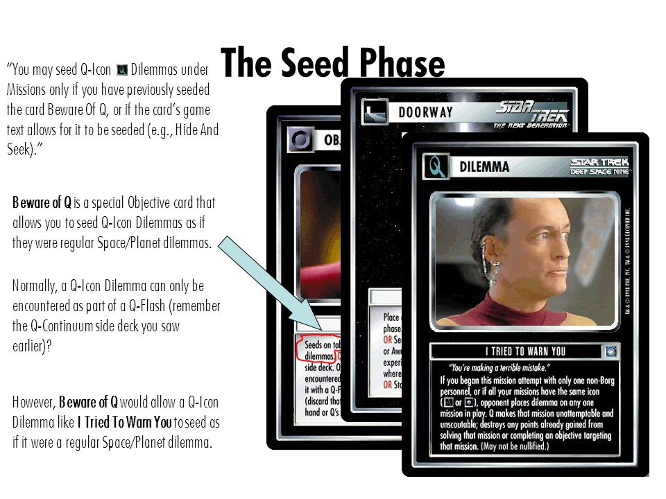The Seed Phase You may seed Q-Icon Dilemmas under Missions only if you have previously seeded the card Beware Of Q, or if the card's game text allows for it to be seeded (e.g., Hide And Seek). Beware of Q is a special Objective card that allows you to seed Q-Icon Dilemmas as if they were regular Space/Planet dilemmas.