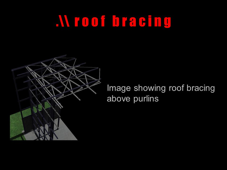 .\\ r o o f b r a c i n g Image showing roof bracing above purlins