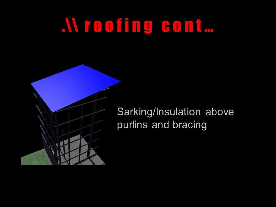 .\\ r o o f i n g c o n t … Sarking/Insulation above purlins and bracing