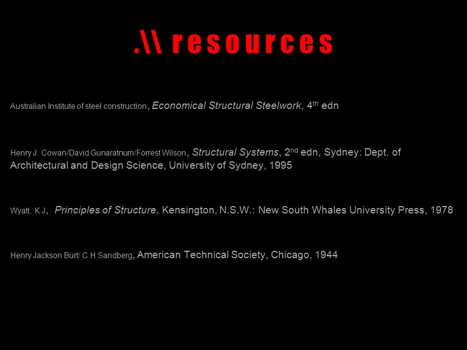 .\\ r e s o u r c e s Australian Institute of steel construction, Economical Structural Steelwork, 4 th edn Henry J.