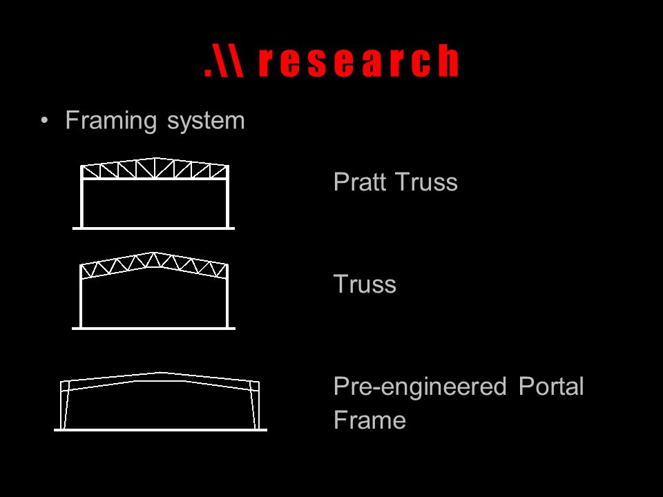 .\\ r e s e a r c h Framing system Pratt Truss Truss Pre-engineered Portal Frame