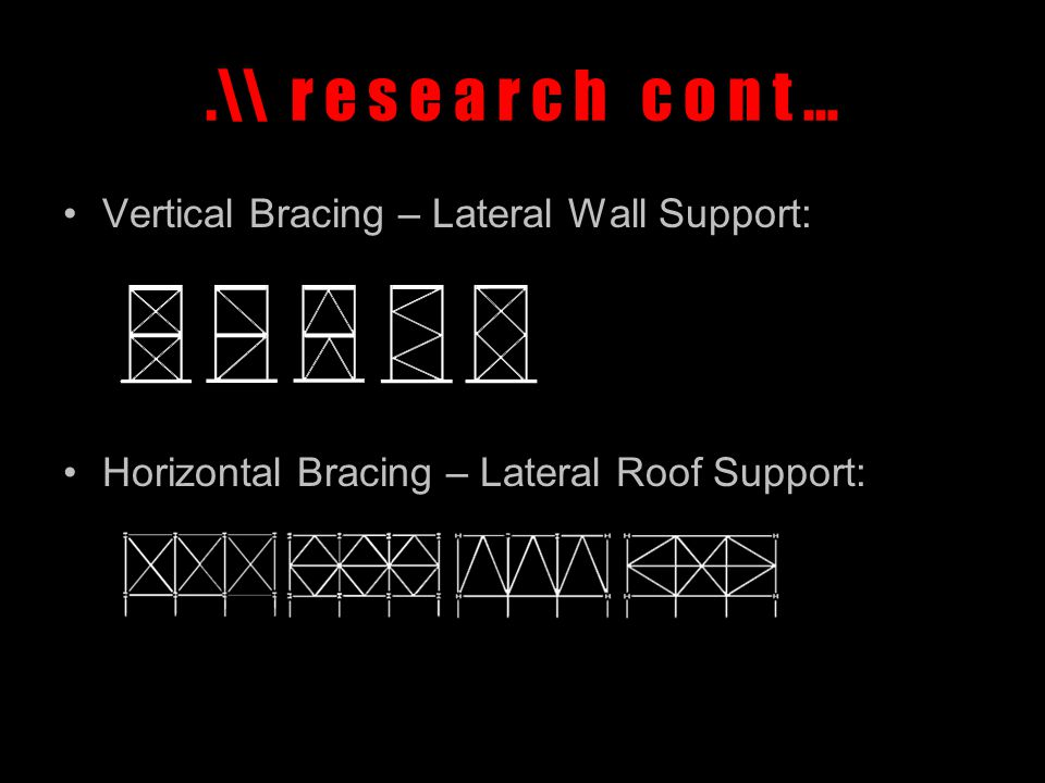 .\\ r e s e a r c h c o n t … Bracing System Chosen: Vertical Bracing Horizontal Bracing * The form of vertical bracing chosen is suitable for the warehouse given its large height, providing strong resistance against wind loads and good lateral stability.