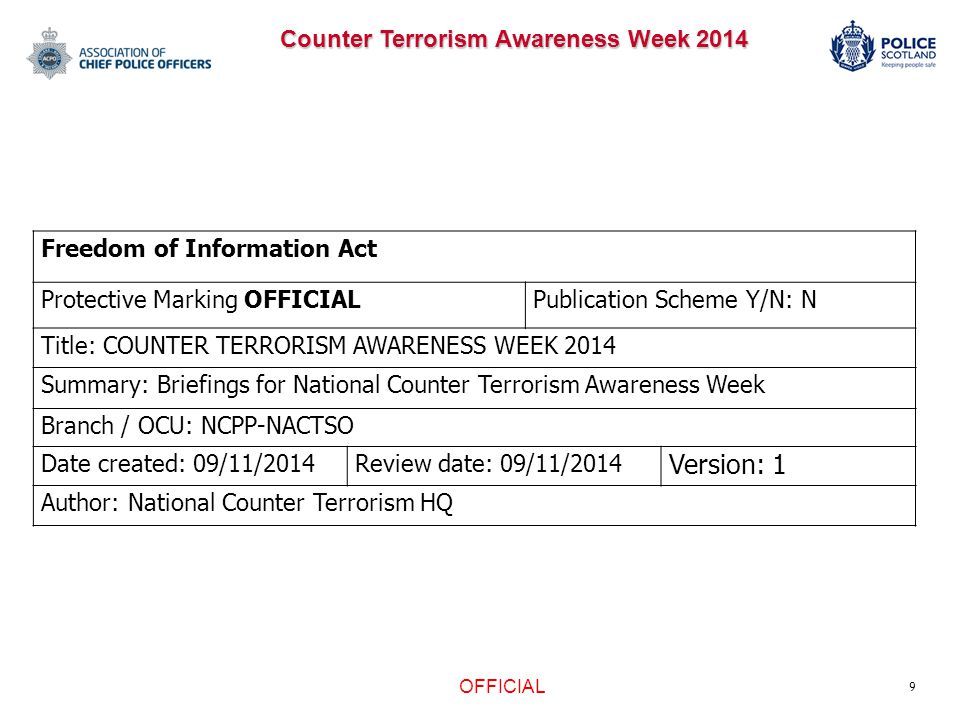 9 Freedom of Information Act Protective Marking OFFICIALPublication Scheme Y/N: N Title: COUNTER TERRORISM AWARENESS WEEK 2014 Summary: Briefings for National Counter Terrorism Awareness Week Branch / OCU: NCPP-NACTSO Date created: 09/11/2014Review date: 09/11/2014 Version: 1 Author: National Counter Terrorism HQ OFFICIAL Counter Terrorism Awareness Week 2014