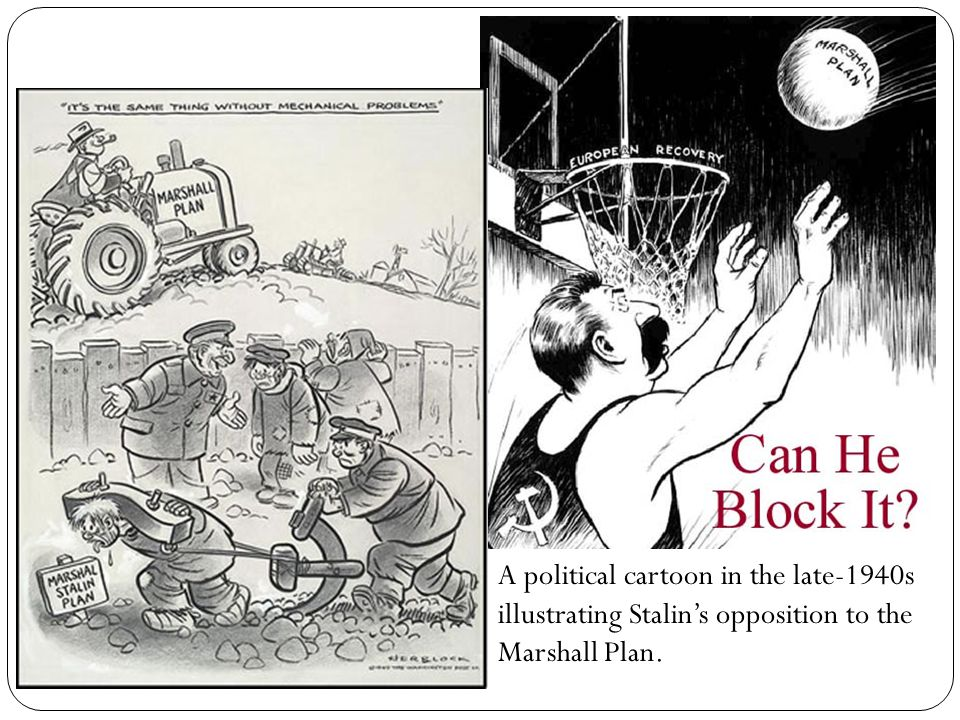 A political cartoon in the late-1940s illustrating Stalin's opposition to the Marshall Plan.