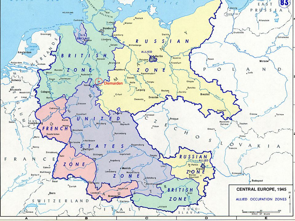 Germany 1949, West Germany became an independent country when US, France and Britain gave back each of their zones U.S.