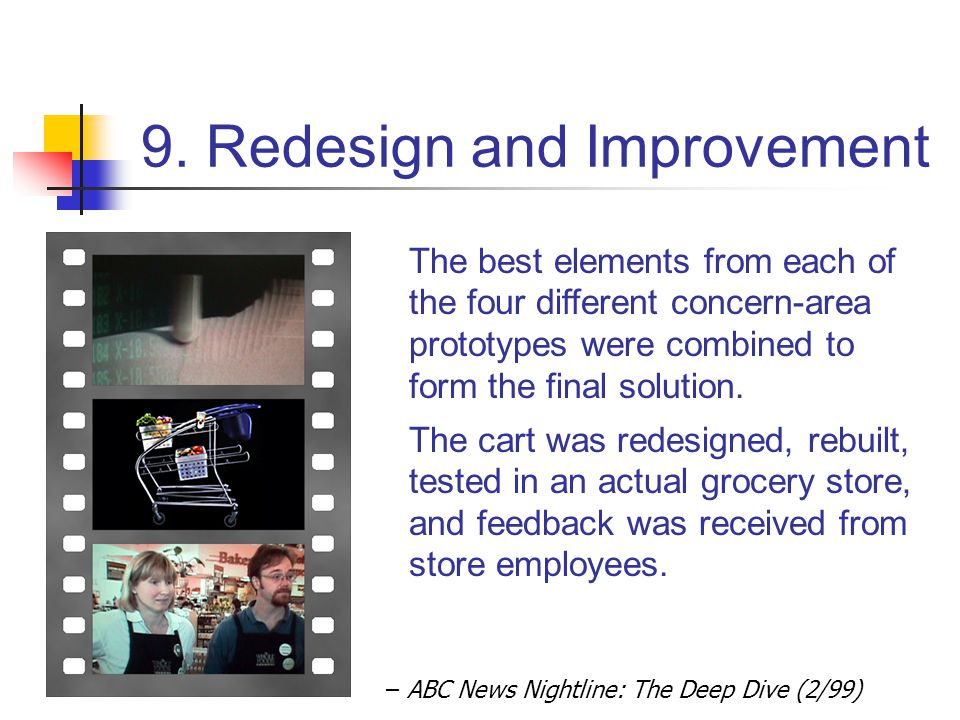 9. Redesign and Improvement – ABC News Nightline: The Deep Dive (2/99) The best elements from each of the four different concern-area prototypes were