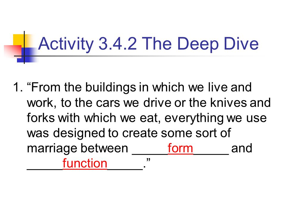 "1.""From the buildings in which we live and work, to the cars we drive or the knives and forks with which we eat, everything we use was designed to cre"