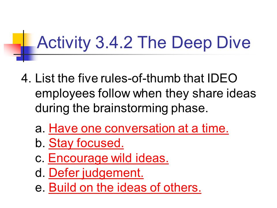 4.List the five rules-of-thumb that IDEO employees follow when they share ideas during the brainstorming phase. a. Have one conversation at a time. b.
