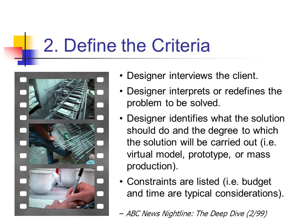 2. Define the Criteria – ABC News Nightline: The Deep Dive (2/99) Designer interviews the client. Designer interprets or redefines the problem to be s