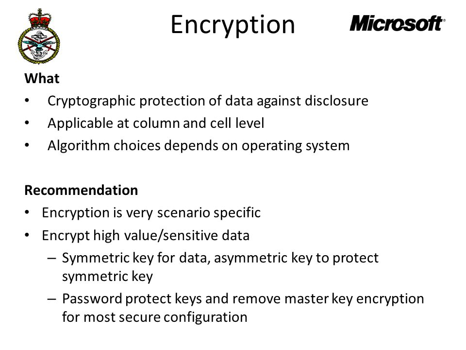 Encryption What Cryptographic protection of data against disclosure Applicable at column and cell level Algorithm choices depends on operating system Recommendation Encryption is very scenario specific Encrypt high value/sensitive data – Symmetric key for data, asymmetric key to protect symmetric key – Password protect keys and remove master key encryption for most secure configuration