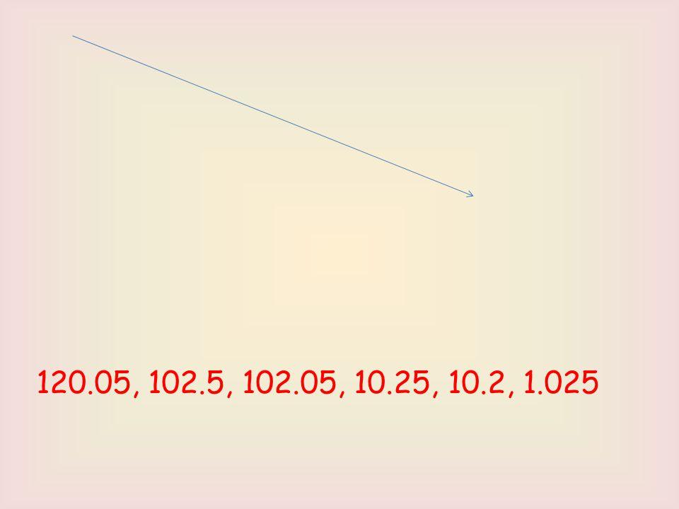 120.05, 102.5, 102.05, 10.25, 10.2, 1.025