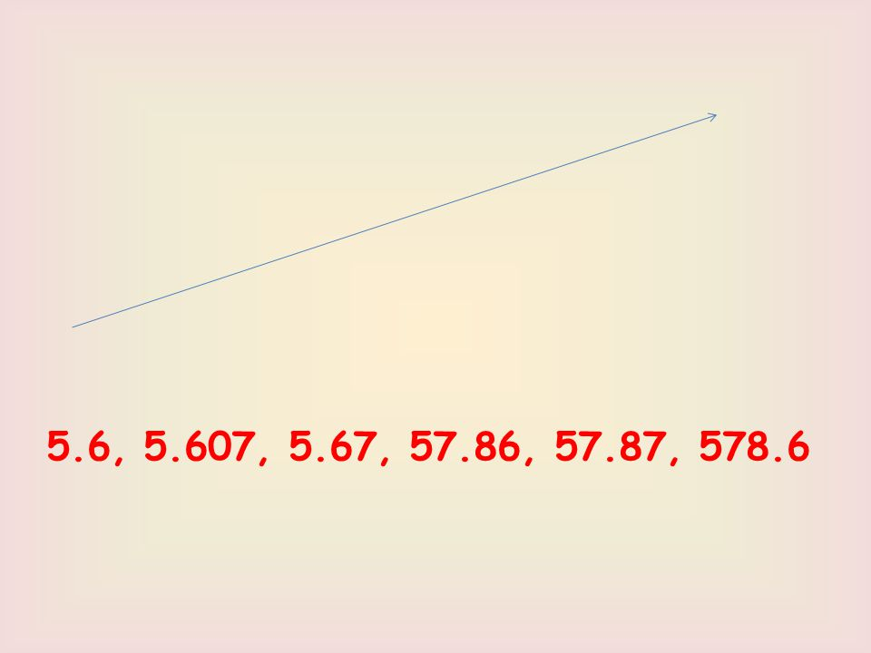 5.6, 5.607, 5.67, 57.86, 57.87, 578.6