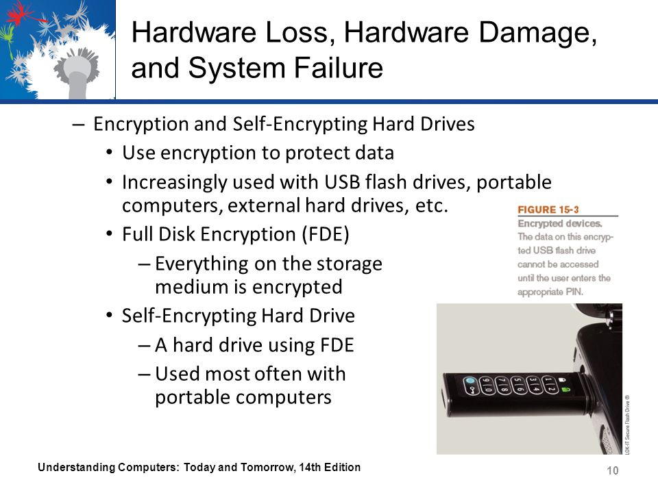 Hardware Loss, Hardware Damage, and System Failure – Encryption and Self-Encrypting Hard Drives Use encryption to protect data Increasingly used with USB flash drives, portable computers, external hard drives, etc.