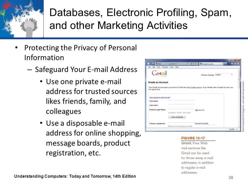 Databases, Electronic Profiling, Spam, and other Marketing Activities Protecting the Privacy of Personal Information – Safeguard Your E-mail Address Use one private e-mail address for trusted sources likes friends, family, and colleagues Use a disposable e-mail address for online shopping, message boards, product registration, etc.