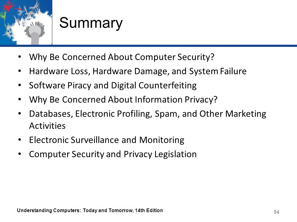 Summary Why Be Concerned About Computer Security.