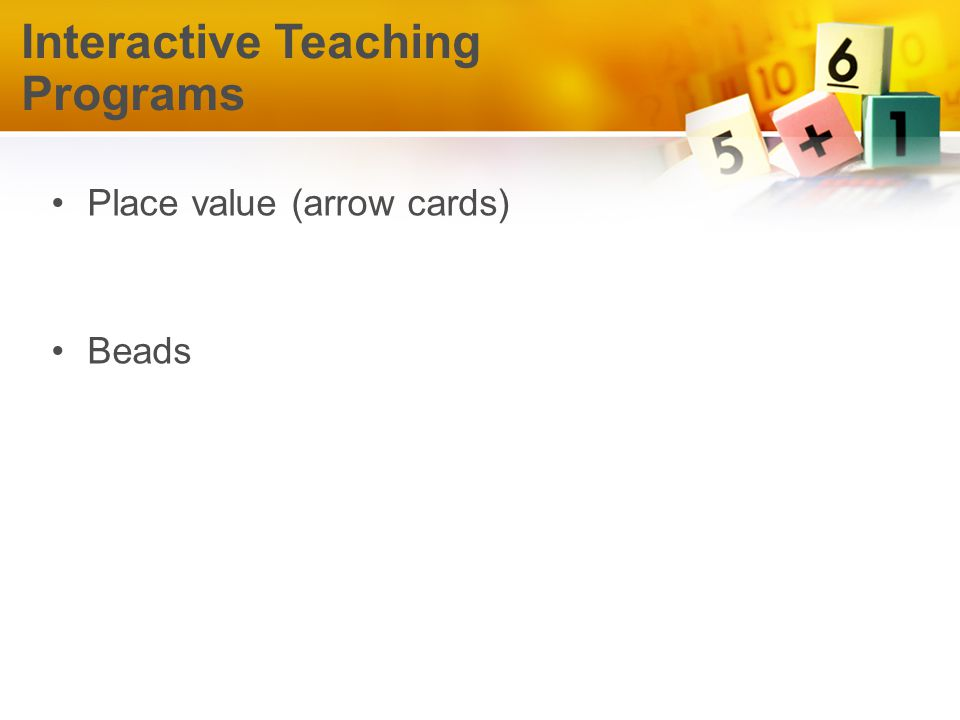 Place value (arrow cards) Beads Interactive Teaching Programs