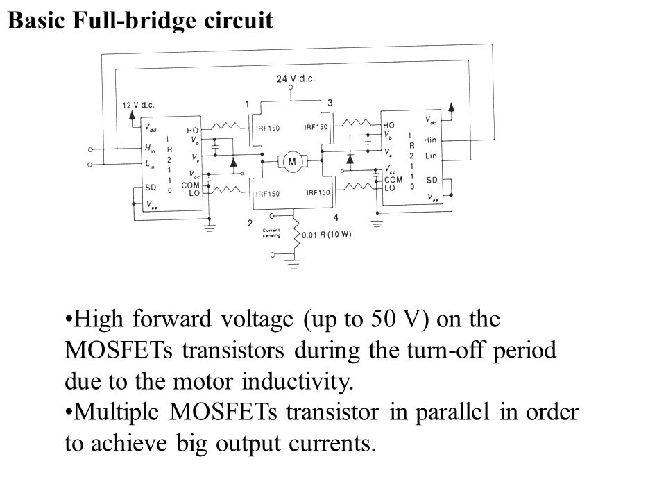 Switching elements: 1.Silicon controlled rectifiers (SCR) – old constructions 2.Powder metal oxide semiconductor field effect transistors (MOSFETs) Powered wheelchairs based on SCR use typical switching frequencies of 500-1000 Hz.