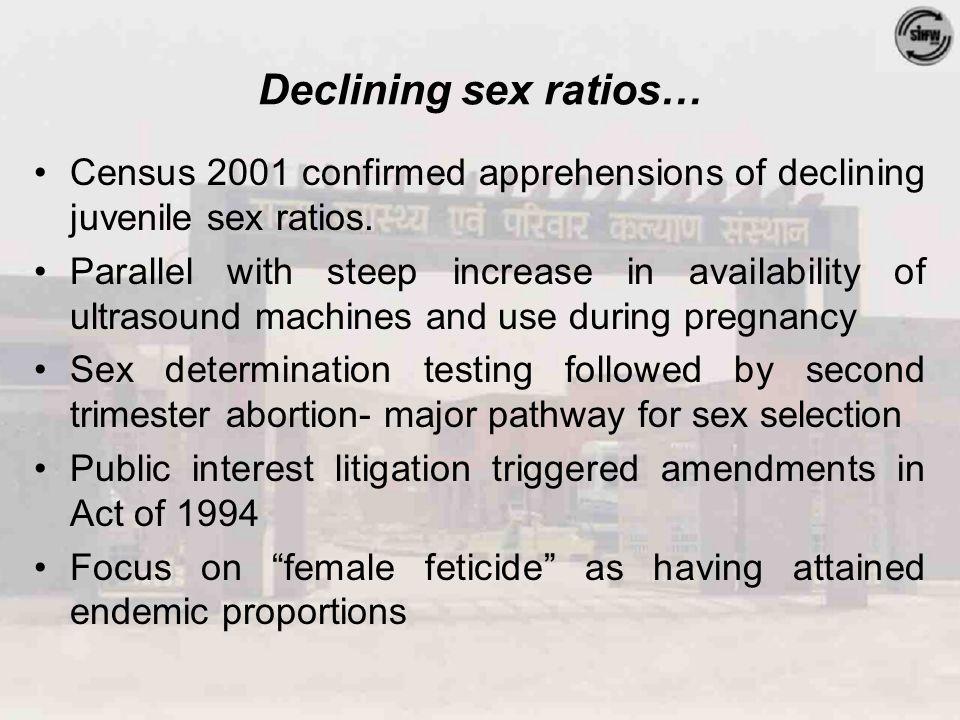 Declining sex ratios… Census 2001 confirmed apprehensions of declining juvenile sex ratios.