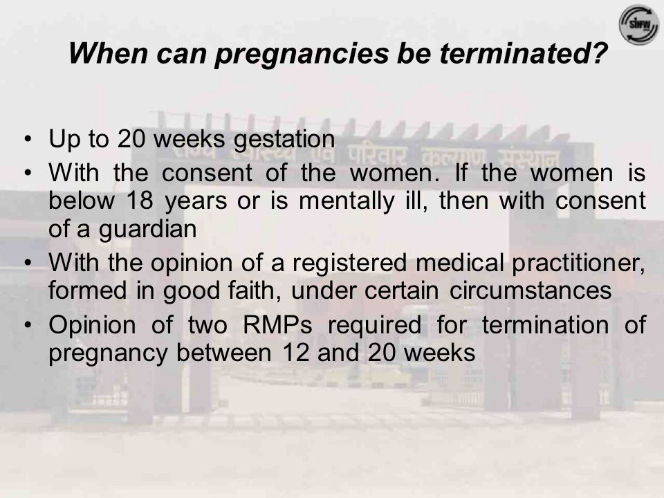 MTP Act: Indications  Continuation of pregnancy constitutes risk to the life or grave injury to the physical or mental health of woman  Substantial risk of physical or mental abnormalities in the fetus as to render it seriously handicapped  Pregnancy caused by rape (presumed grave injury to mental health)  Contraceptive failure in married couple (presumed grave injury to mental health)