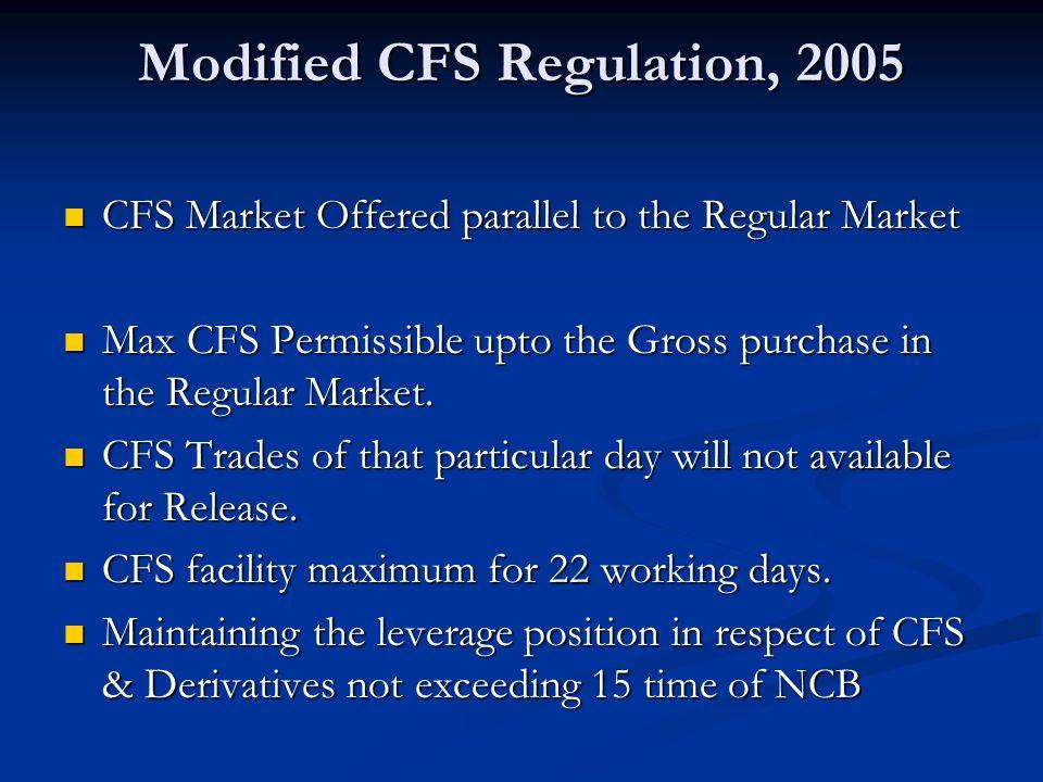 Modified CFS Regulation, 2005 CFS Market Offered parallel to the Regular Market CFS Market Offered parallel to the Regular Market Max CFS Permissible upto the Gross purchase in the Regular Market.