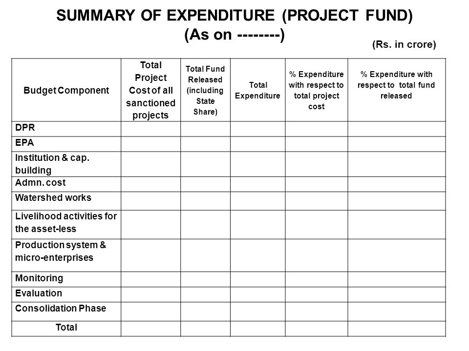 SUMMARY OF EXPENDITURE (PROJECT FUND) (As on --------) Budget Component Total Project Cost of all sanctioned projects Total Fund Released (including State Share) Total Expenditure % Expenditure with respect to total project cost % Expenditure with respect to total fund released DPR EPA Institution & cap.