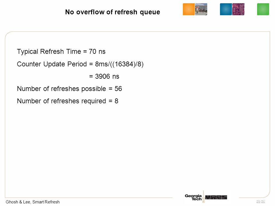 Ghosh & Lee, Smart Refresh 23/21 No overflow of refresh queue Typical Refresh Time = 70 ns Counter Update Period = 8ms/((16384)/8) = 3906 ns Number of refreshes possible = 56 Number of refreshes required = 8