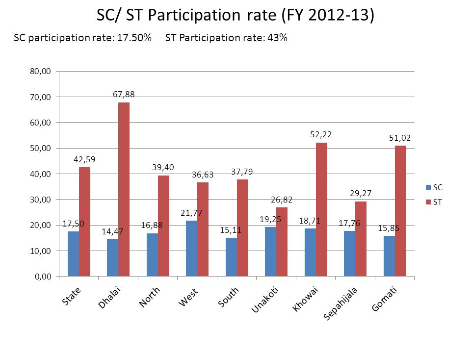 SC/ ST Participation rate (FY 2012-13) SC participation rate: 17.50% ST Participation rate: 43%