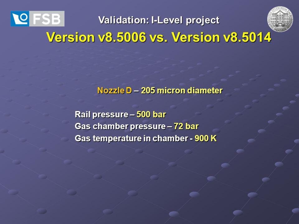Validation: I-Level project Version v8.5006 vs. Version v8.5014 Nozzle D – 205 micron diameter Rail pressure – 500 bar Gas chamber pressure – 72 bar G
